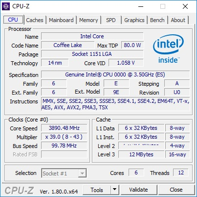 cpu z core i7 8700k sample