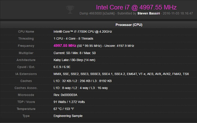 intel core i7 7700k bench leak