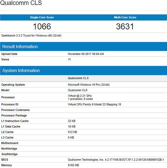 qualcomm snapdragon windows geekbench 2