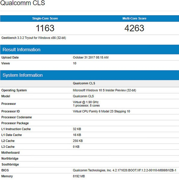 qualcomm snapdragon windows geekbench