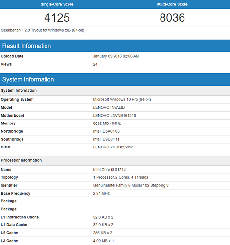 i3 8121u geekbench leak