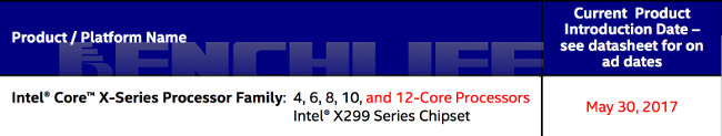 intel x299 core date benchlife