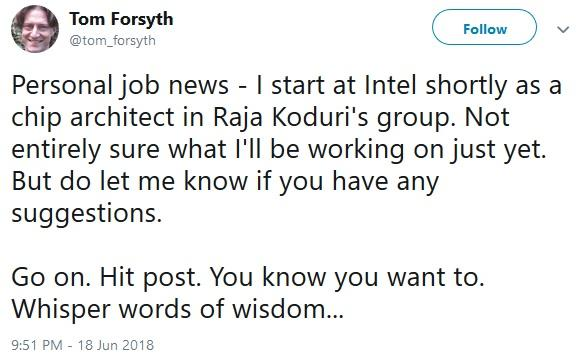 tom forsyth rejoint intel twitter