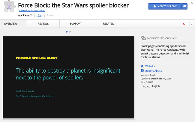 Force Block vous évite de vous faire spoiler Star Wars VII ...