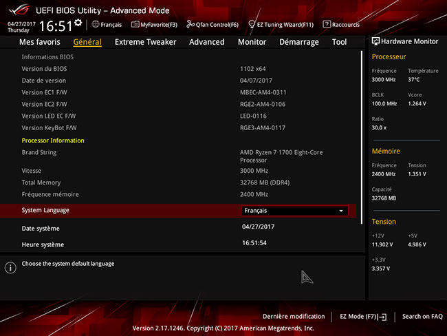 Asus Crosshair VI Hero : UEFI mode Advanced
