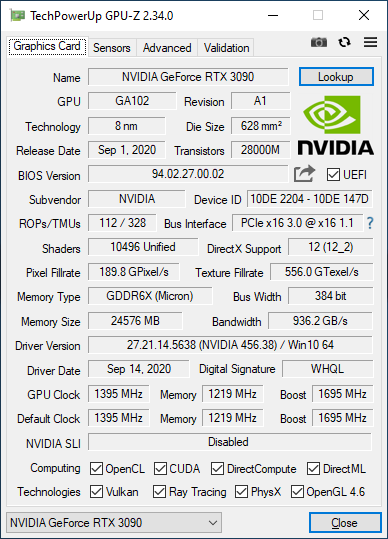 GPU-Z GeForce RTX 3090 Founders Edition