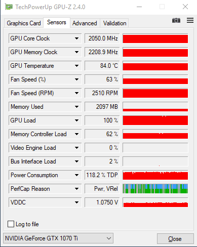 GPU-Z GeFORCE GTX 1070 Ti : overclocking