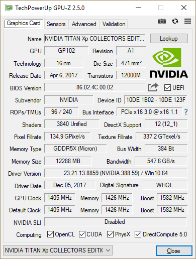 GPU-Z TITAN Xp Collector's Edition