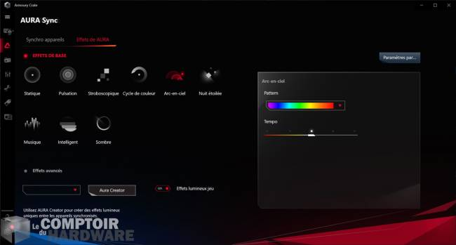 asus rog maximus xii hero wifi - applications : armoury crate [cliquer pour agrandir]